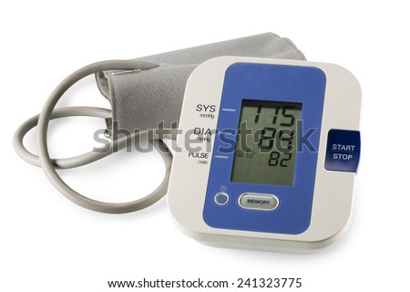 Medical tonometer for measuring blood pressure isolated on white
