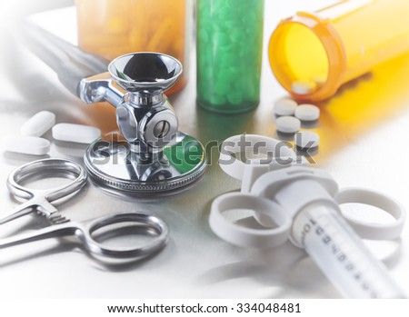 Medical tools with limited depth of field, used by doctors and nurses in the care of hospitalized patients - stock photo