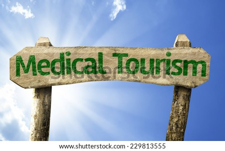 Medical Tourism sign on a summer day - stock photo