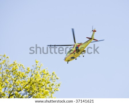 Medical transportation with a helicopter - stock photo