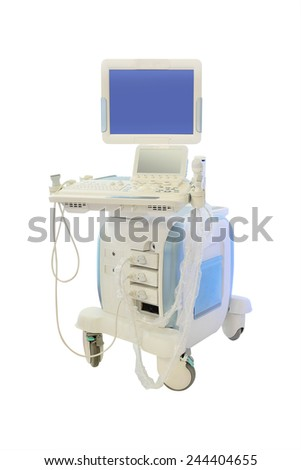 medical ultrasound diagnostic machine isolated under the white background - stock photo