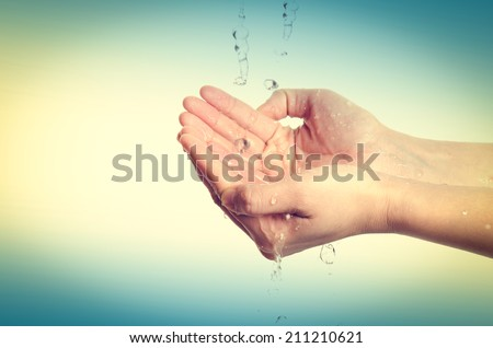 medical wash hand gesture series, cleaning with bubble - stock photo