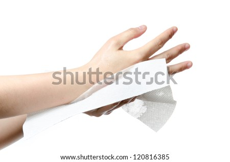 medical wash hand gesture series, drying hands, cleaning with bubble isolated - stock photo