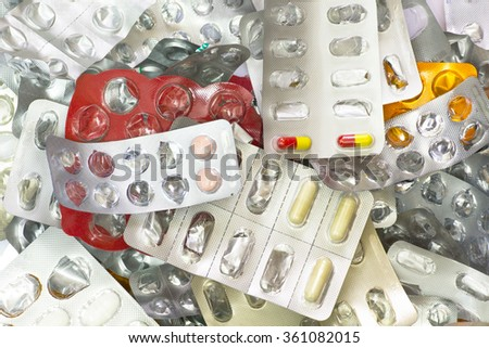Medical Waste with Empty Blister, Medicines, Capsules and Tablets. - stock photo