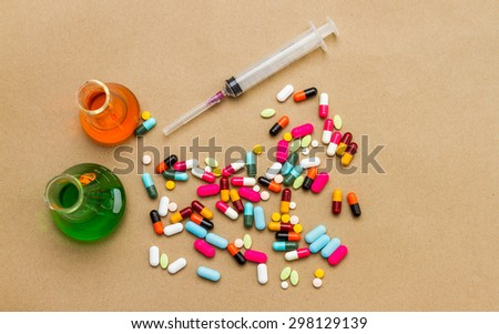 Medical with a syringe for laboratory on background. - stock photo