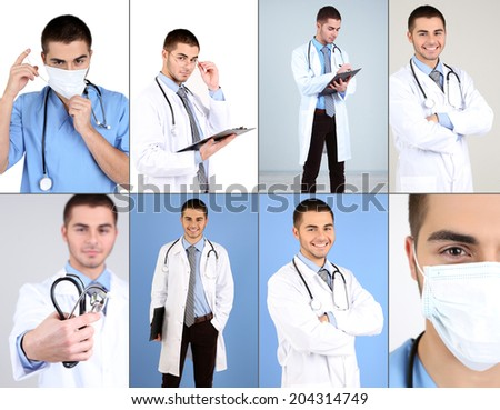 Medical workers collage - stock photo