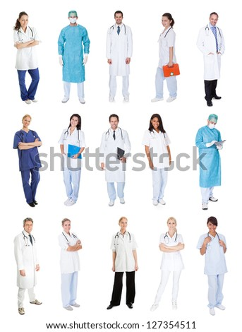 Medical workers, doctors, nurses. Isolated on white - stock photo