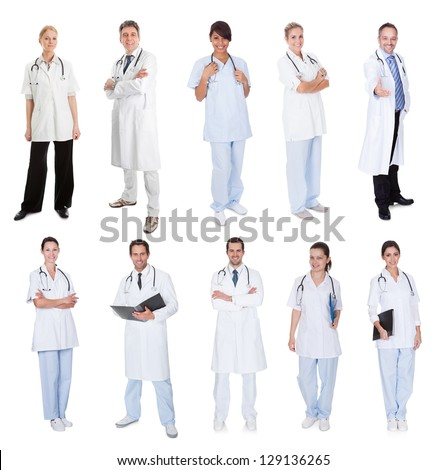 Medical workers, doctors, nurses. Isolated on white