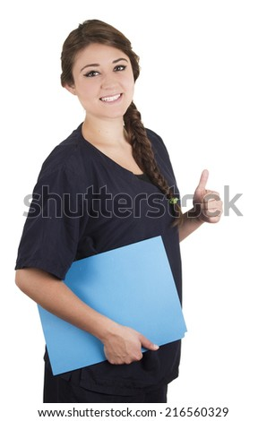 Medical young woman nurse doctor intern holding thumb up portrait isolated on white - stock photo