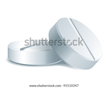 Medicament: two white medical pills.  isolated on white background