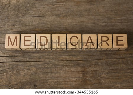 MEDICARE text on a wooden background - stock photo
