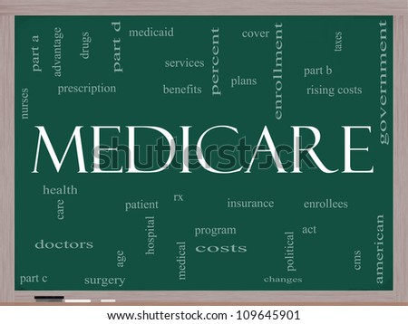 Medicare Word Cloud Concept on a Blackboard with great terms such as health, care, hospital, tax, enrollment, part d and more - stock photo
