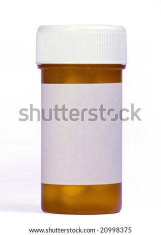 Medication bottle and pills - stock photo