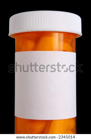 Medication bottle with clipping path and pills - stock photo