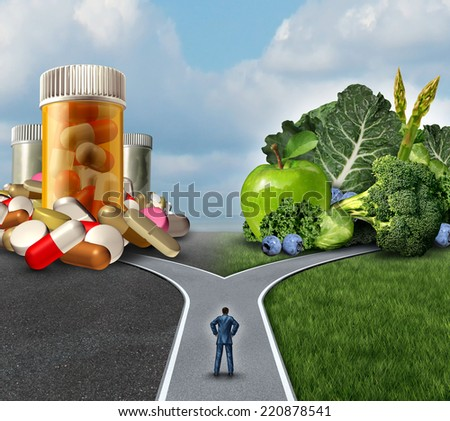Medication decision concept and natural remedy nutrition choices dilemma between healthy fresh fruit and vegetables or pharmaceutical pills and prescription drugs with a man on a crossroad. - stock photo