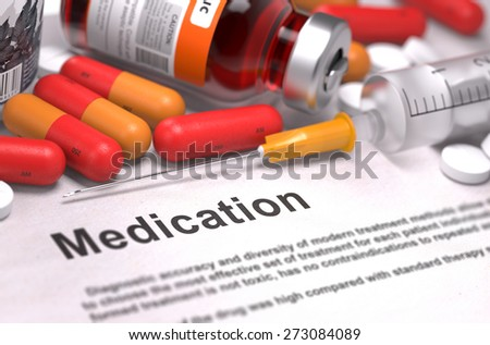 Medication - Medical Concept with Red Pills, Injections and Syringe. Selective Focus. 3D Render. - stock photo