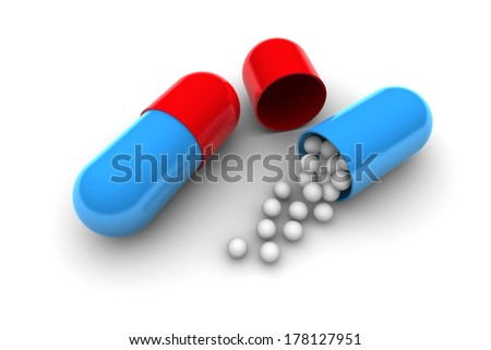 Medication open pill illustration isolated on white background - stock photo