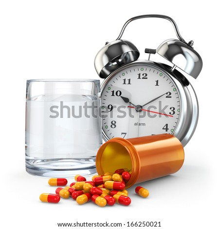 Medication time. Pills, water glass and alarm clock. 3d - stock photo