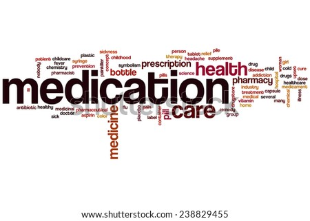 Medication word cloud concept with medicine pharmacy related tags - stock photo