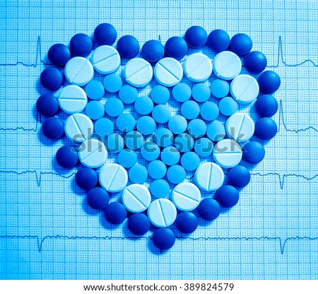 Medications. Medical background. Pills the form of heart.