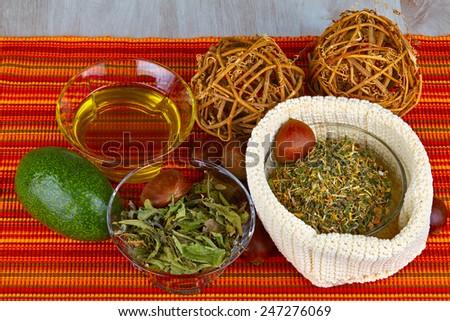Medicinal herbs, homemade natural and organic products ,homeopathy - stock photo