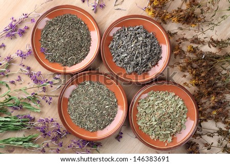 Medicinal herbs in clay saucers on wooden table - stock photo
