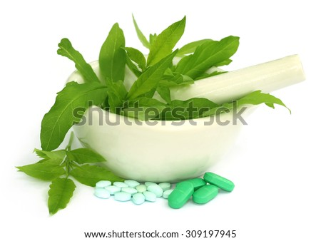 Medicinal herbs with pills over white background - stock photo
