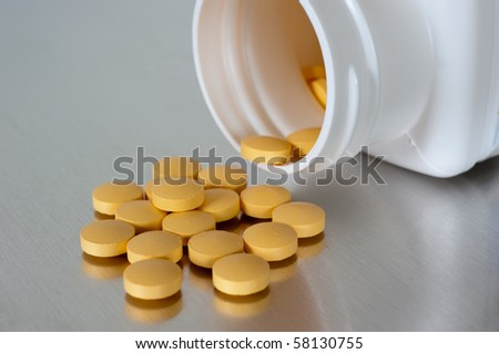 Medicinal pills poured out