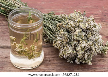 Medicinal plant yarrow (dried flowers and decoction) on an old wooden table - stock photo