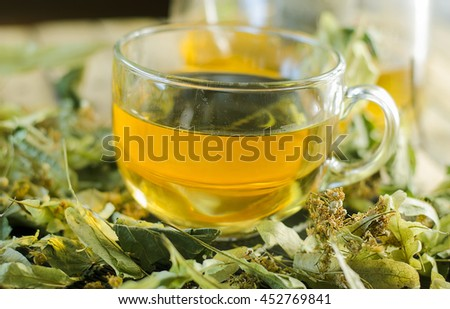 medicinal tea brewed from dry Linden flowers in glass Cup