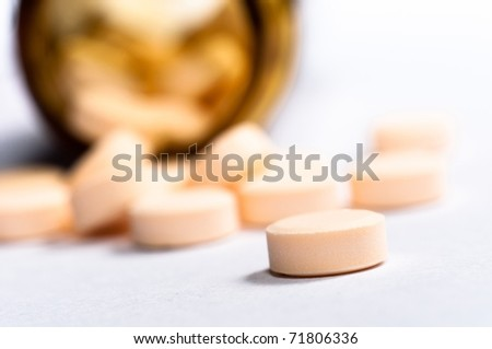 Medicine against white isolated background