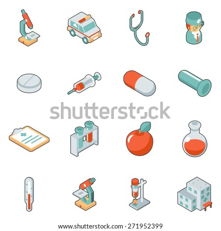 Medicine and health care isometric 3d icons. Symbol medical set, hospital and emergency - stock photo