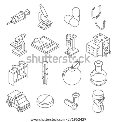 Medicine and health care isometric 3d line icons. Drug and clinic, laboratory, element syringe, thermomete - stock photo