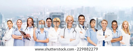 medicine and healthcare concept - team or group of doctors and nurses - stock photo