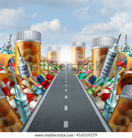 Medicine and medication concept as a group of pills and prescription drugs on a road as a health care metaphor for medicinal medical treatment solution from a doctor with 3D illustration elements. - stock photo