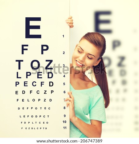medicine and vision concept - woman in eyeglasses with eye chart - stock photo