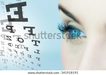 Medicine and vision concept - woman's eyes and eye chart. - stock photo