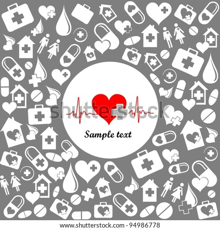 Medicine background with heart cardiogram and place for your text.  illustration - stock photo