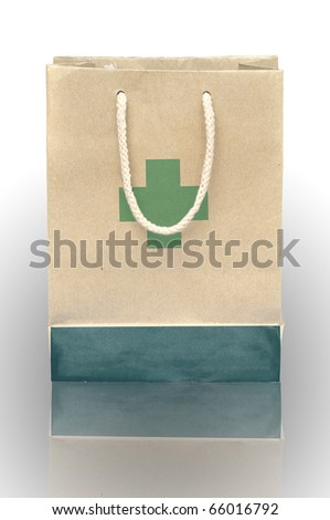 Medicine bag made from recycle paper with reflect - stock photo