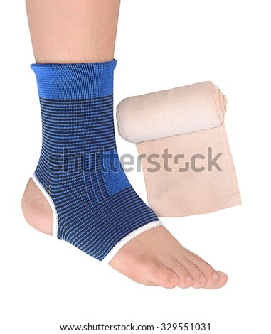 Medicine bandage on human foot isolated with clipping path