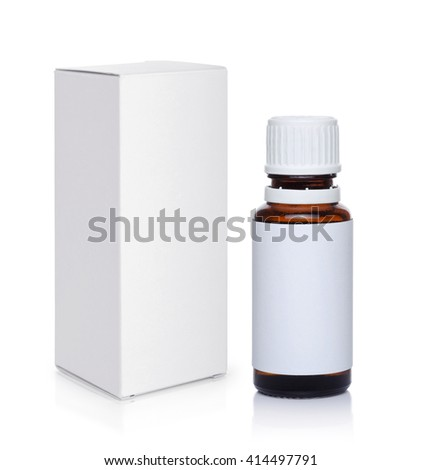 Medicine bottle and package isolated on white background - stock photo