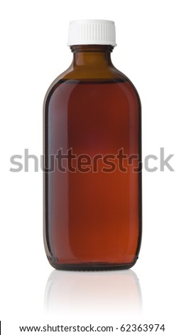 Medicine Bottle, Brown glass, medicine bottle with a white screw cap and liquid inside. - stock photo