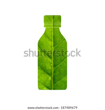 Medicine bottle made of green leaf isolated on white background - stock photo