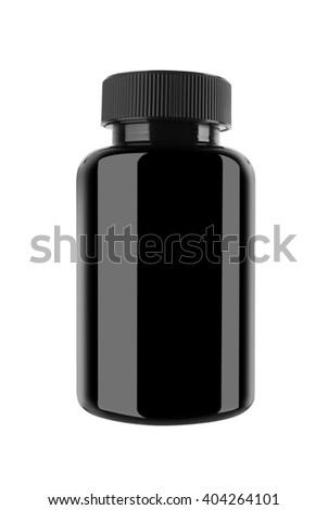 Medicine bottle of black glass or plastic isolated on white - stock photo