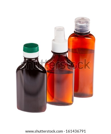 Medicine bottle of brown glass isolated on white background with liquid and white plastic cap. Frontal view, blank for label - stock photo