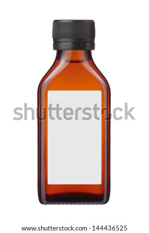 medicine bottle or cosmetic product with blank label on white background - stock photo