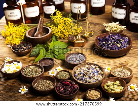 Medicine bottles and herbs  - stock photo