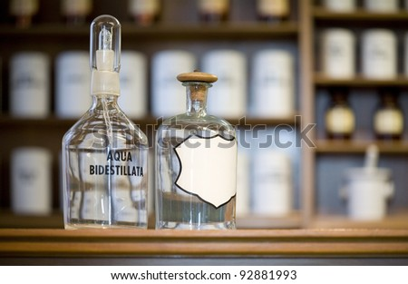 medicine bottles, blank label, free copy space - stock photo