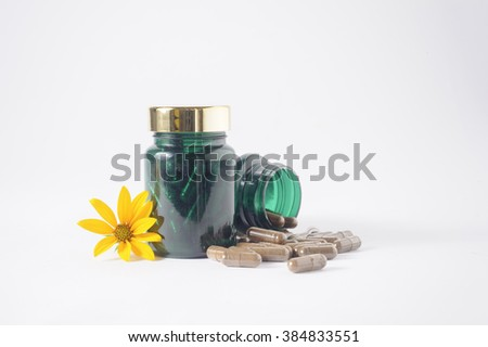medicine bottles   in white background. - stock photo