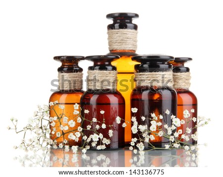 Medicine bottles isolated on white - stock photo